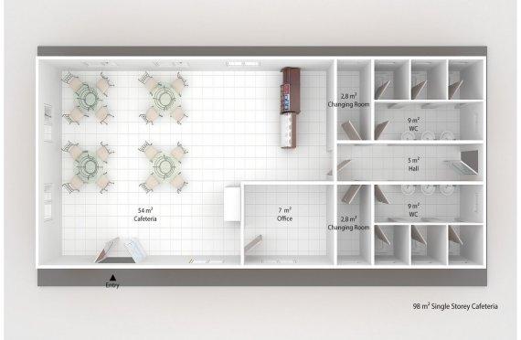 Cafeteria modular 98m²