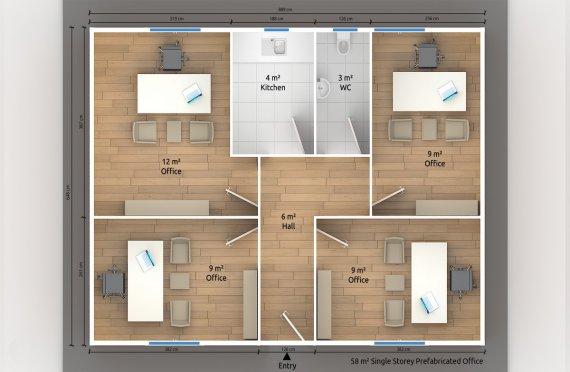 Escritório pré-fabricado 58 m²