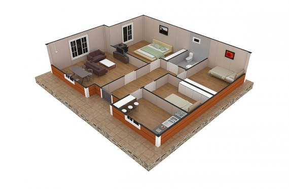 Casa préfabricada 102m²