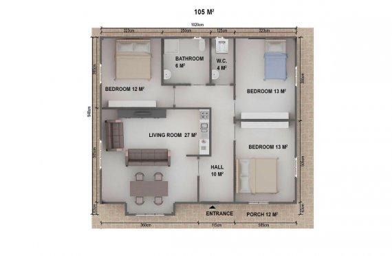 Casa préfabricada 105m²