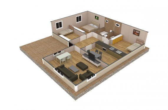 Casa préfabricada 107 m²