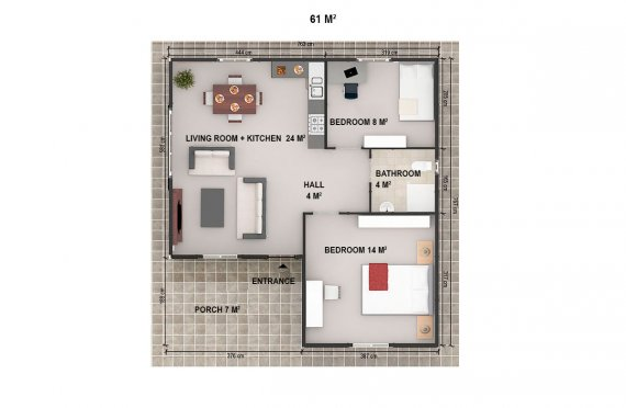Casa préfabricada 61m²
