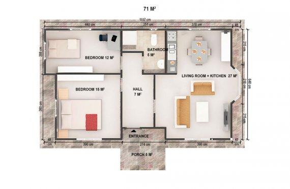 Casa préfabricada 71m²
