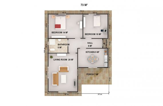 Casa préfabricada 73m²
