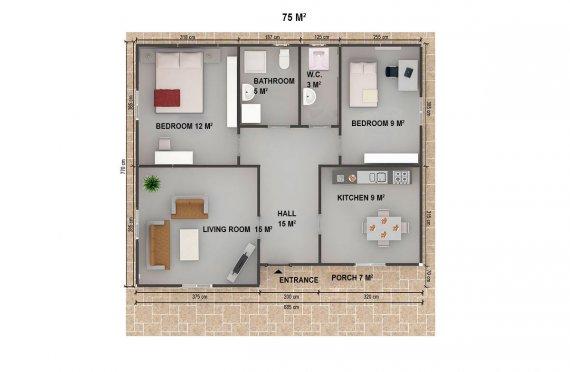 Casa préfabricada 75m²