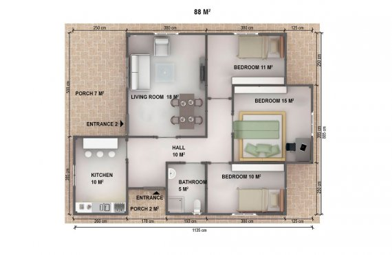 Casa préfabricada 88m²