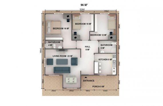 Casa préfabricada 96m²