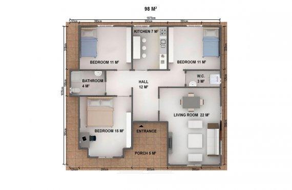 Casa préfabricada 98m²