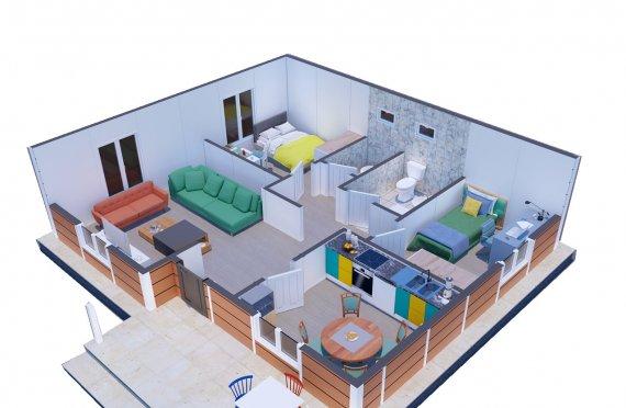 Casas Modulares de 75m2 com Varanda