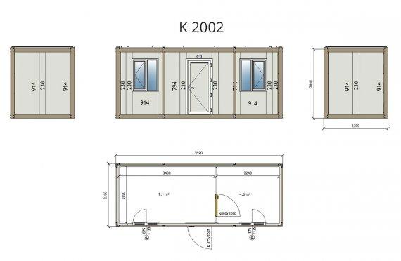 Contentor flatpack k2002