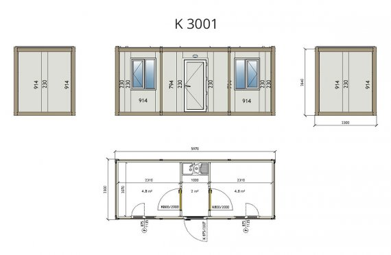 Contentor flatpack k3001