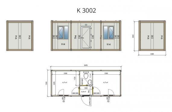 Contentor flatpack k3002