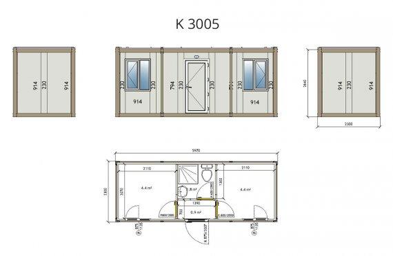 Contentor flatpack k3005