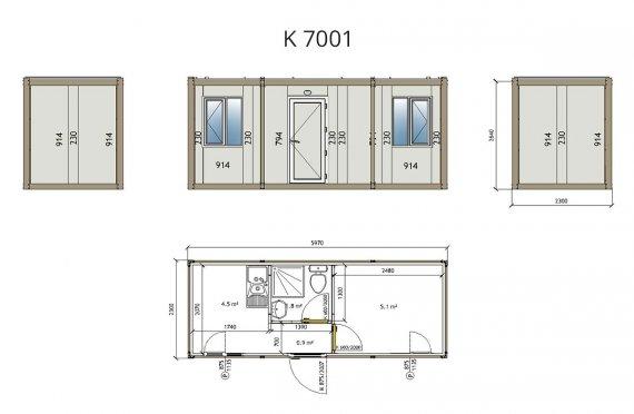Contentor flatpack k7001