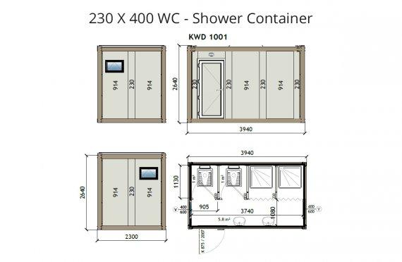 Contentor wc-banheiro KW4 230x400cm