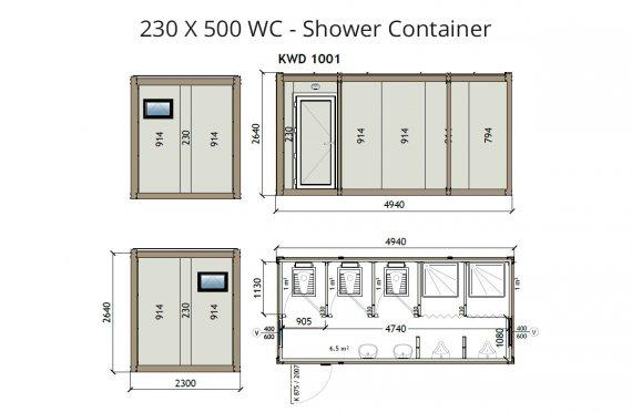 Contentor wc-banheiro kw6 230x500