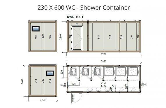 Contentor wc-banheiro kw6 230x600