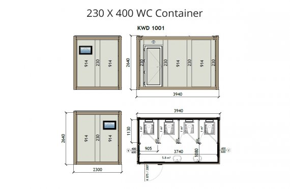 Contentor wc kw4 230x400