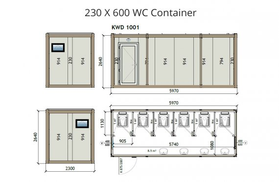 Contentor wc kw6 230x600