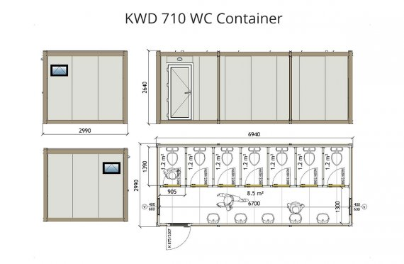 Contentor wc kwd 710