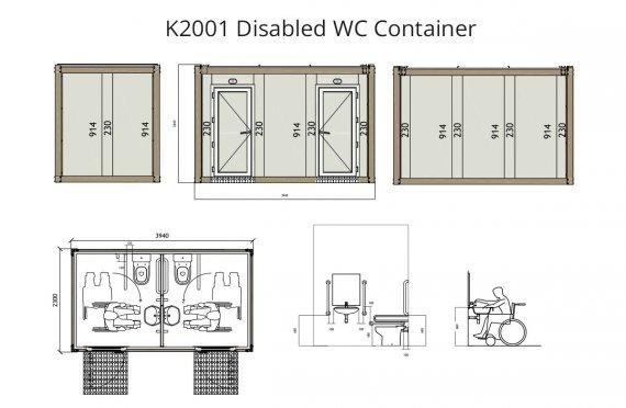 Contentor wc para deficiente k2001