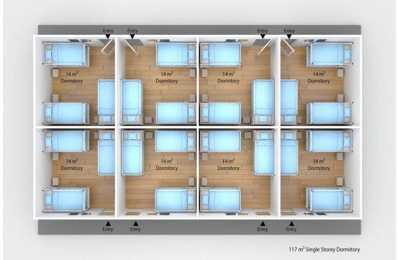 Dormitório préfabricado 117m²