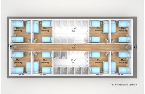 Dormitório préfabricado 193m²