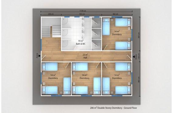 Dormitório préfabricado 206m²