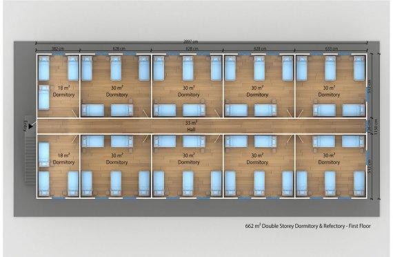 Alojamento - dormitório préfabricado 662m²
