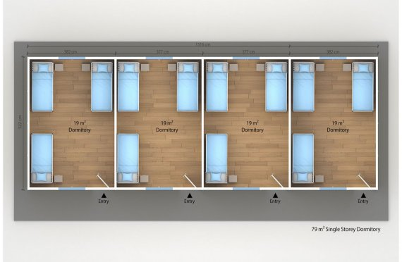 Dormitório préfabricado 79m²