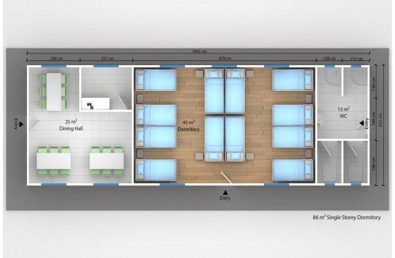Dormitório préfabricado 86m²