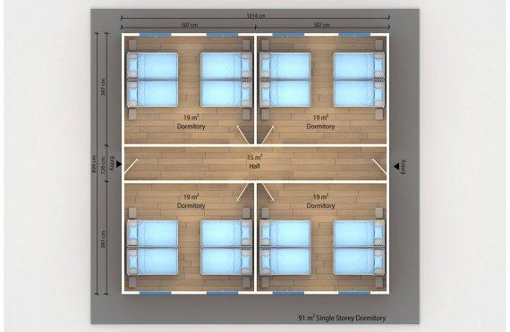 Dormitório préfabricado 91m²