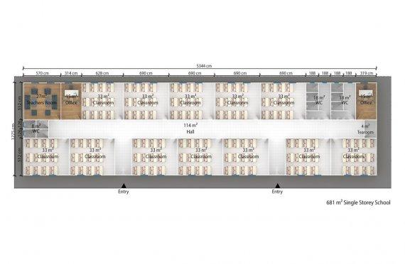 Edifício escolar modular 981m²