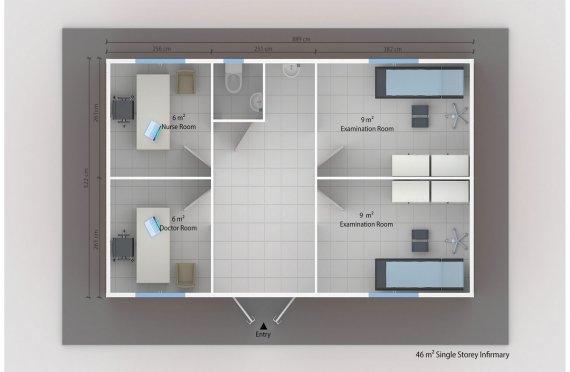 Enfermaria modular 46m²