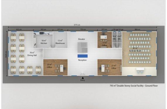 Instalação social modular 793m²