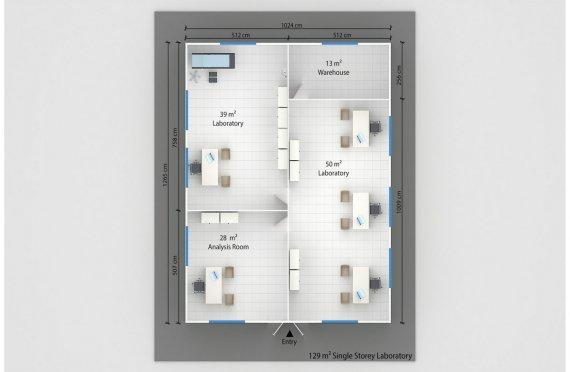 Laboratório modular  129m²
