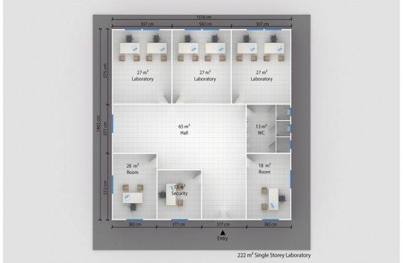 Laboratório modular  222m²