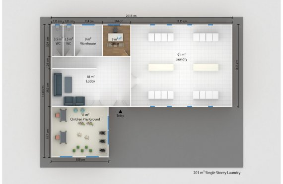 Lavandaria modular 201m²