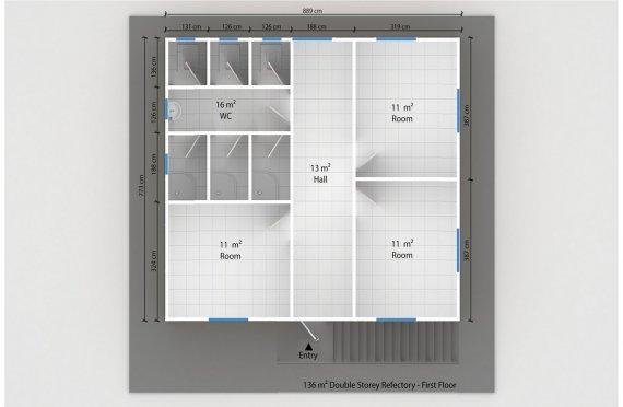 Refeitório préfabricado 136m²