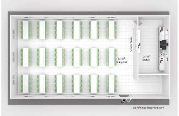 Cantina/refeitório préfabricado 170m²