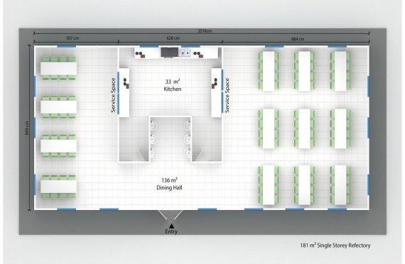 Refeitório préfabricado 181m²