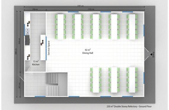 Cozinha e refeitório préfabricado 250m²