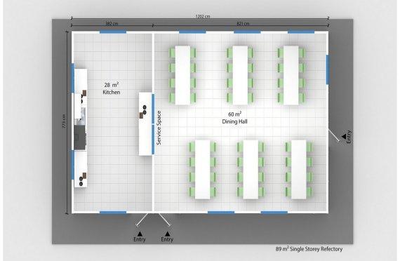 Refeitório préfabricado 89m²