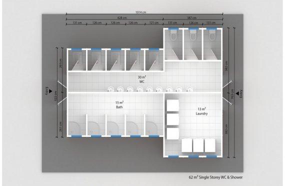 Wc-banheiro préfabricado 62m²