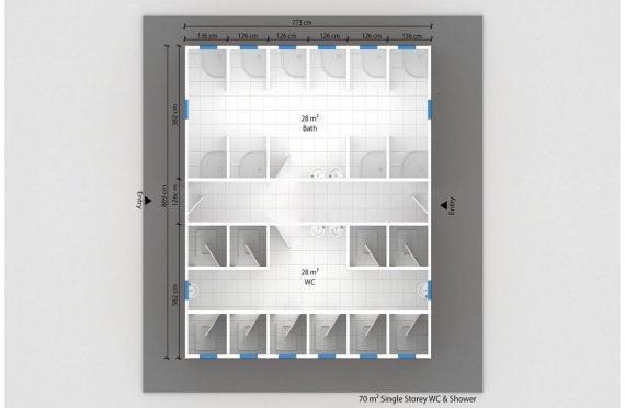 Wc-banheiro préfabricado 70m²