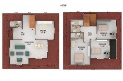 Planos de casas Pré-fabricadas de Dois Pisos